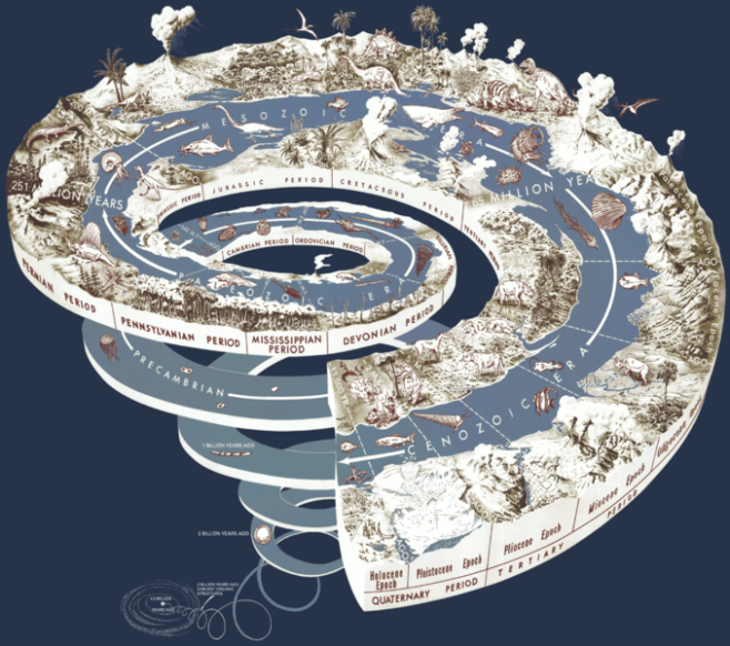 A spiral diagram illustrating the evolution of life on Earth through geological time