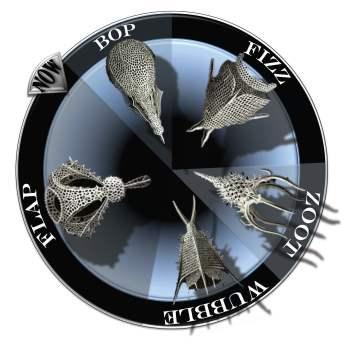 Fantasy clock with radiolarians