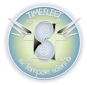 Timefleet Academy logo: a winged hourglass made of ammonites