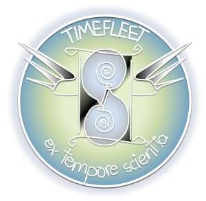 Timefleet Academy logo: a winged hourglass made of ammonites