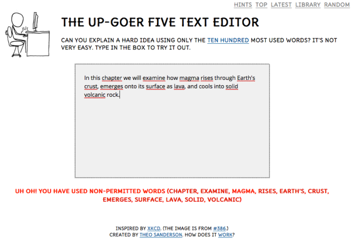 Up-Goer Five text editor