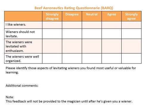 Formative assessment for levitating wieners (loosely based on the SEEQ questionnarie)