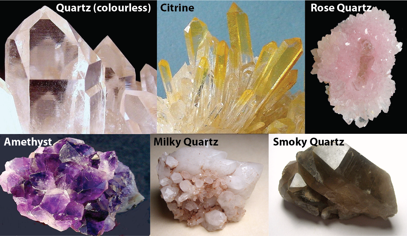The many colours of quartz. [KP; photos by R. Weller/ Cochise College with permission for NC use]