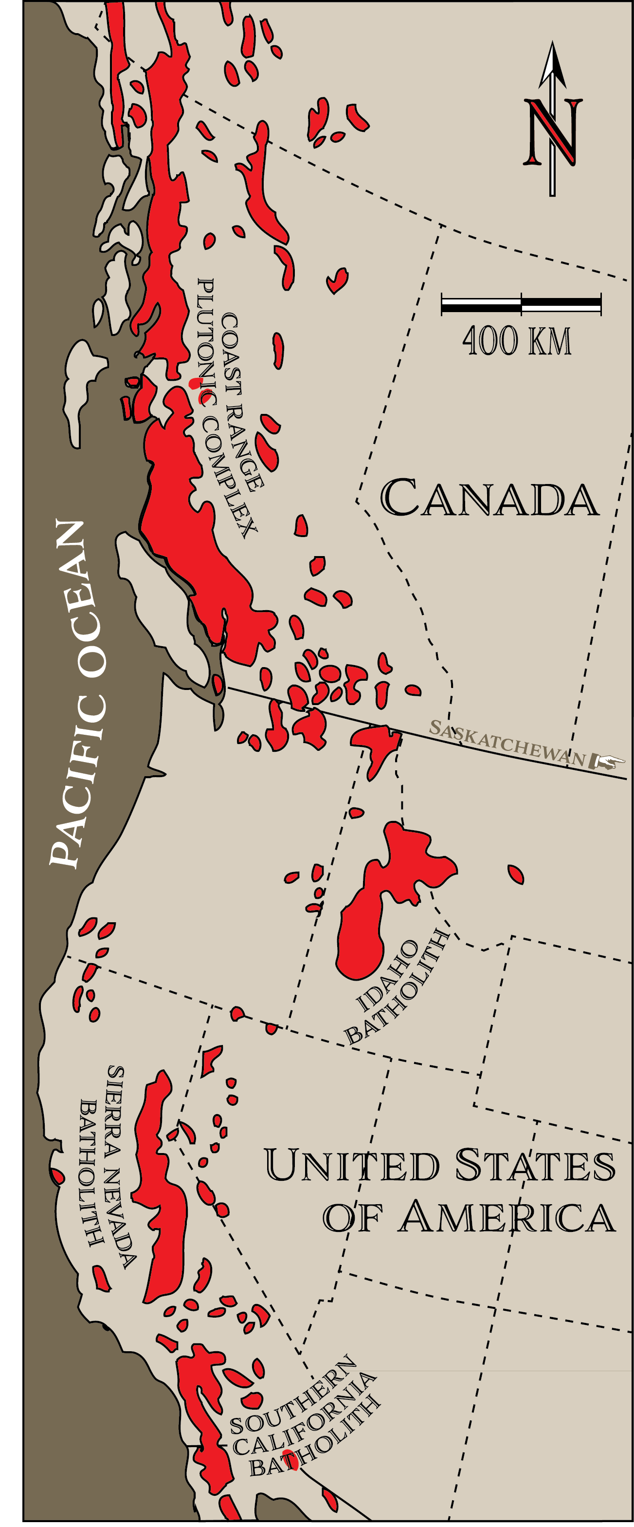 The Coast Range Plutonic Complex (also called the Coast Range Batholith) is the largest in the world. It is part of a chain of batholiths along the western coast of North America. [KP after K. Leonard http://bit.ly/NAbatholiths]